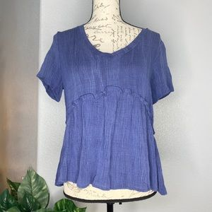 Emory Park flowy blue Rayon top size  M